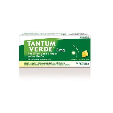 Imagen del producto TANTUM VERDE 3 MG  PASTILLAS PARA CHUPAR SABOR LIMON, 20 PASTILLAS