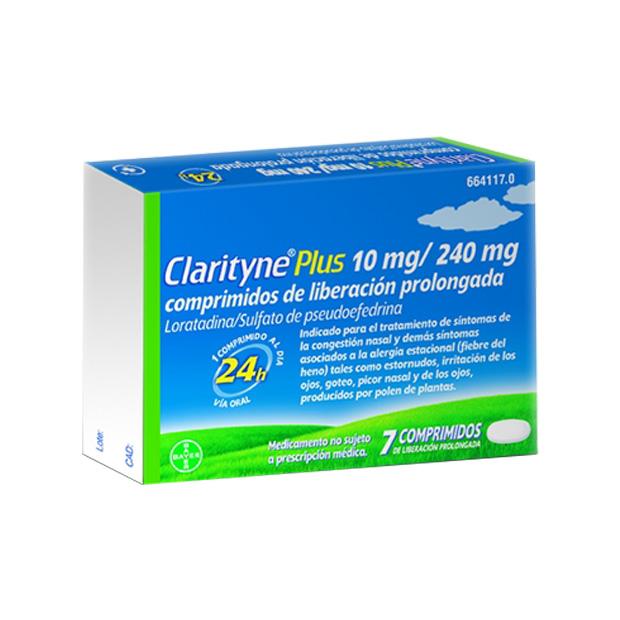 Imagen del producto CLARITYNE PLUS 10 MG/240 MG 7 COMPRIMIDOS