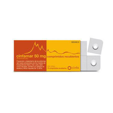 Imagen del producto CINFAMAR 50 MG 4 COMPRIMIDOS RECUBIERTOS