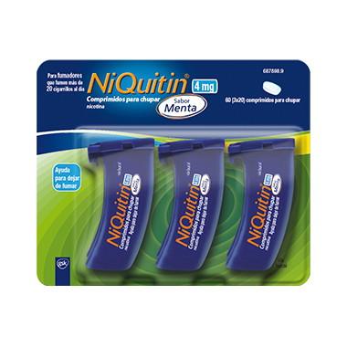 Imagen del producto NIQUITIN 4 MG COMPRIMIDOS PARA CHUPAR SABOR MENTA, 60 COMPRIMIDOS