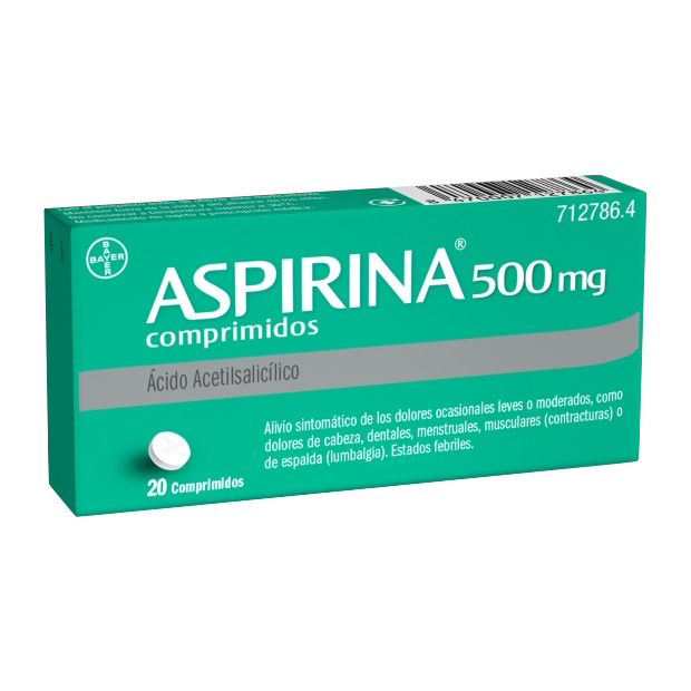 Imagen del producto ASPIRINA 500 MG 20 COMPRIMIDOS