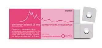 Imagen del producto CINFAMAR INFANTIL 25 MG 10 COMPRIMIDOS