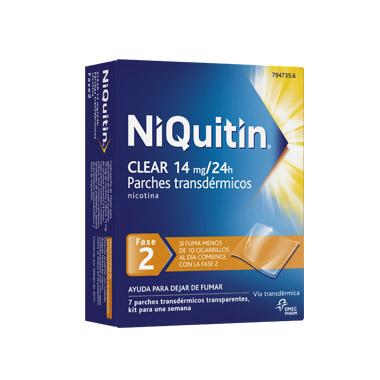 Imagen del producto NIQUITIN CLEAR 14 mg, 24 HORAS PARCHE TRANSDERMICO , 7 parches